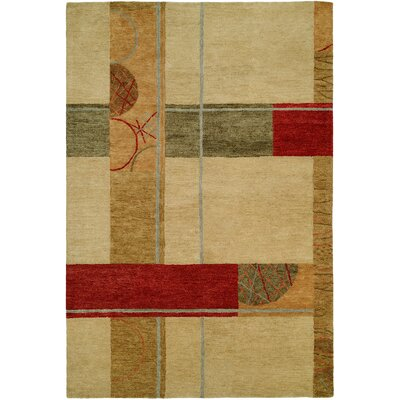 Hand-Tufted Beige/Red Area Rug Rug Size: 2 x 3
