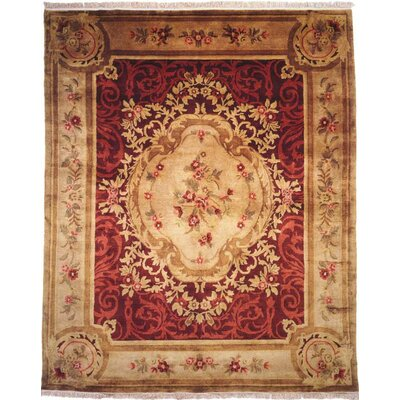 Hand-Knotted Red/Beige Area Rug Rug Size: 6 x 9