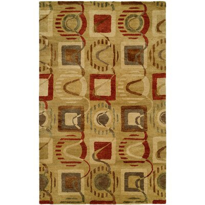 Beige/Red Hand-Tufted Area Rug Rug Size: 36 x 56