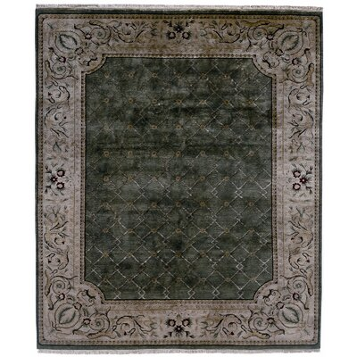 Hand-Knotted Green/Gray Area Rug Rug Size: 9 x 12