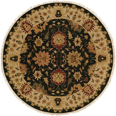 Hand-Knotted Black/Beige Area Rug Rug Size: Round 6