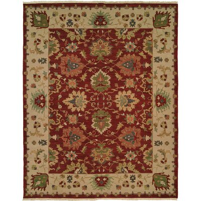Hand-Knotted Red/Beige Area Rug Rug Size: Square 6