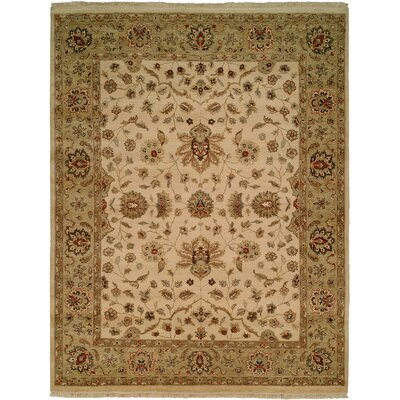 Hand-Knotted Beige/Gold Area Rug Rug Size: Rectangle 6 x 9