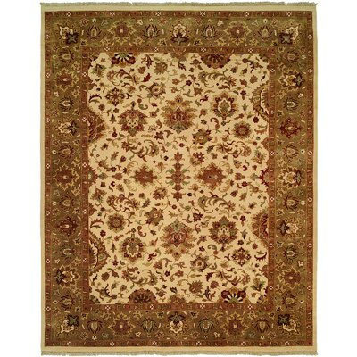 Hobart Hand-Woven Ivory/Green Area Rug Rug Size: 4 x 6