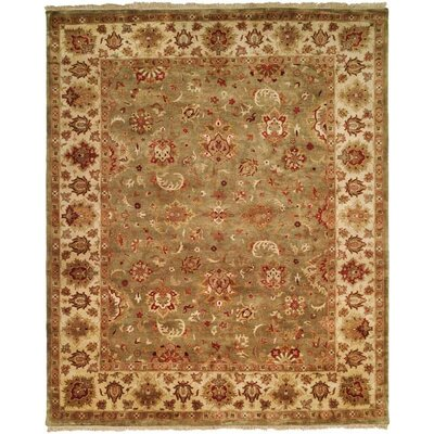 Nelson Hand-Woven Green/Ivory Area Rug Rug Size: Rectangle 6 x 9