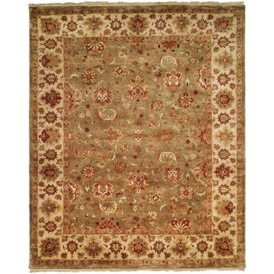 Nelson Hand-Woven Green/Ivory Area Rug Rug Size: 9 x 12