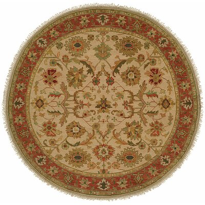 Kamel Hand-Woven Beige/Red Area Rug Rug Size: Round 8