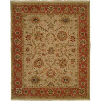 Kamel Hand-Woven Beige/Red Area Rug Rug Size: Square 6