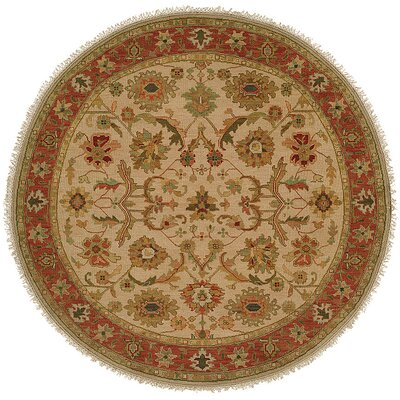 Kamel Hand-Woven Beige/Red Area Rug Rug Size: Round 10