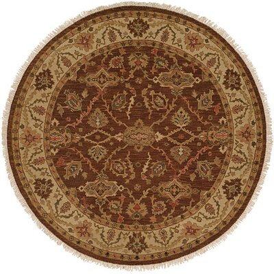 Qingdao Hand-Woven Brown/Beige Area Rug Rug Size: Round 4
