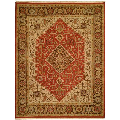 Rizhao Hand-Woven Red/Beige Area Rug Rug Size: 4 x 6