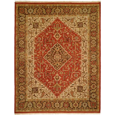 Rizhao Hand-Woven Red/Beige Area Rug Rug Size: 4 x 10