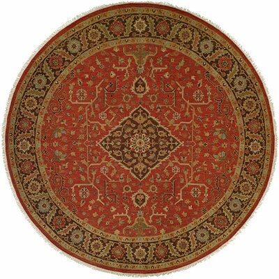 Rizhao Hand-Woven Red/Beige Area Rug Rug Size: Round 8