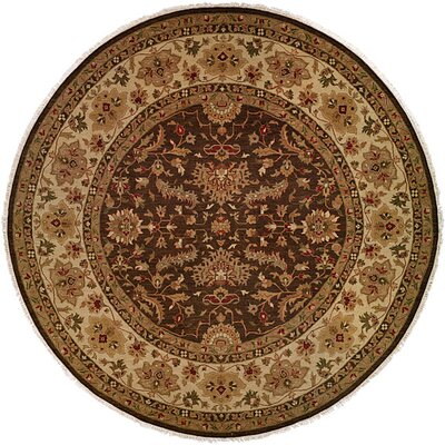 Tianjin Hand-Woven Brown/Beige Area Rug Rug Size: Round 10
