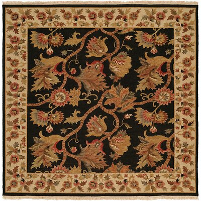 Acharya Hand-Woven Black/Brown Area Rug Rug Size: Square 8