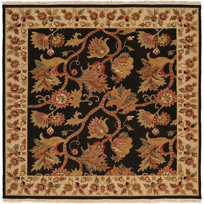 Acharya Hand-Woven Black/Brown Area Rug Rug Size: Square 6