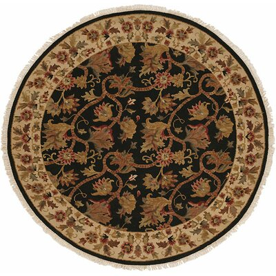 Acharya Hand-Woven Black/Brown Area Rug Rug Size: Round 6