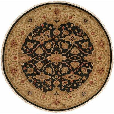 Apte Hand-Woven Black/Beige Area Rug Rug Size: Round 6