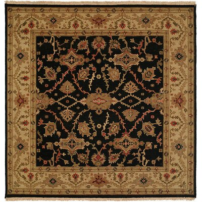 Apte Hand-Woven Black/Beige Area Rug Rug Size: Square 8