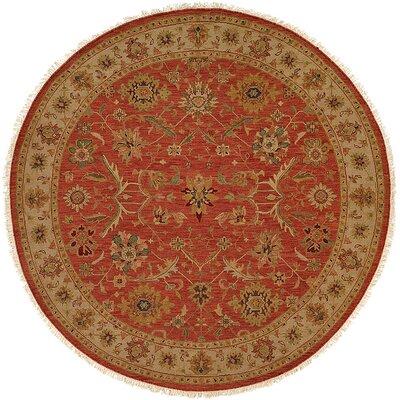 Arora Hand-Woven Red/Beige Area Rug Rug Size: Round 6
