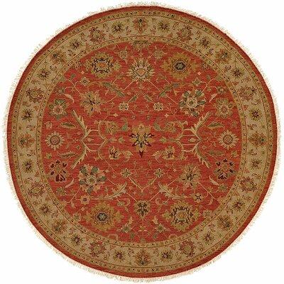 Arora Hand-Woven Red/Beige Area Rug Rug Size: Round 8'