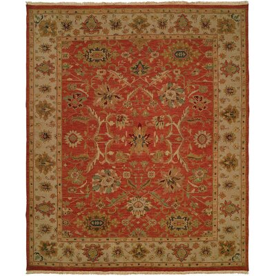 Arora Hand-Woven Red/Beige Area Rug Rug Size: 4 x 8