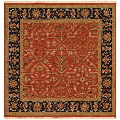 Arya Hand-Woven Red/Black Area Rug Rug Size: Square 6
