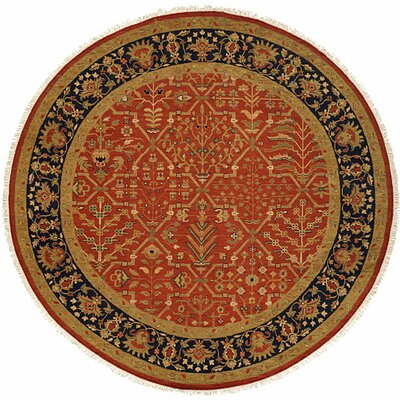Arya Hand-Woven Red/Black Area Rug Rug Size: Round 10