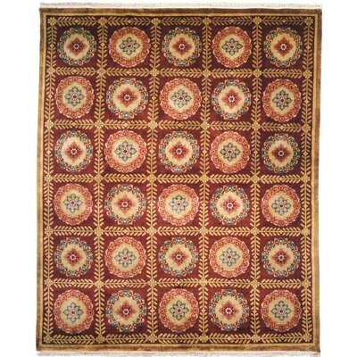 Bahl Hand-Knotted Red/Brown Area Rug Rug Size: 9 x 12
