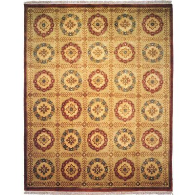 Bahri Hand-Knotted Beige Area Rug Rug Size: 6 x 9