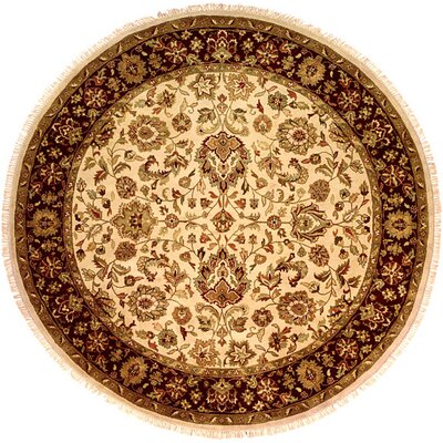Bajaj Hand-Woven Brown/Beige Area Rug Rug Size: Round 6