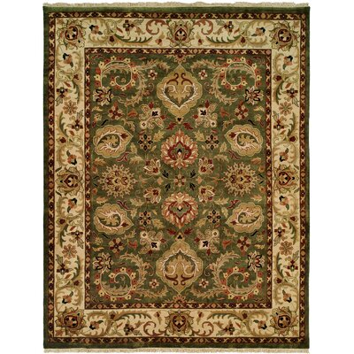 Bajwa Hand-Woven Green/Beige Area Rug Rug Size: Rectangle 5 x 7