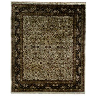 Bali Hand-Knotted Beige/Black Area Rug Rug Size: 2 x 3
