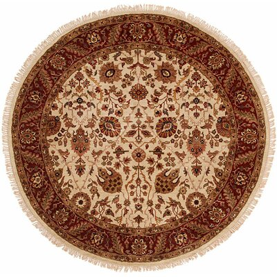 Baria Hand-Woven Beige/Red Area Rug Rug Size: Round 6