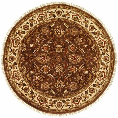 Hand-Woven Brown Area Rug Rug Size: Round 6