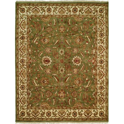 Bhagat Hand-Woven Green/Beige Area Rug Rug Size: Rectangle 6 x 9