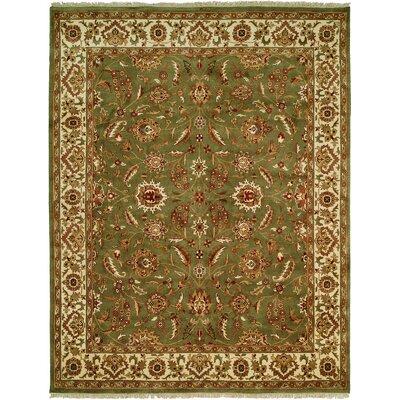 Bhagat Hand-Woven Green/Beige Area Rug Rug Size: 6 x 9