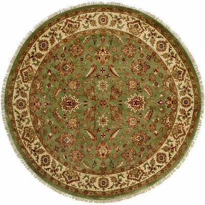Bhagat Hand-Woven Green/Beige Area Rug Rug Size: Round 6'