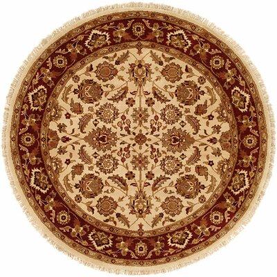Bhalla Hand-Woven Beige/Brown Area Rug Rug Size: Round 6