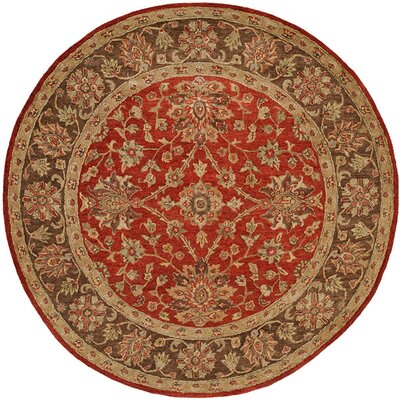 Bir Hand-Woven Red Area Rug Rug Size: Round 6