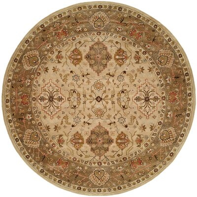 Boase Hand-Woven Beige/Brown  Area Rug Rug Size: Round 6