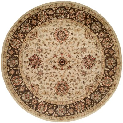 Bobal Hand-Woven Beige Area Rug Rug Size: Round 6