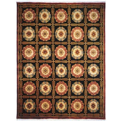 Borde Hand-Knotted Black/Brown Area Rug Rug Size: 9 x 12