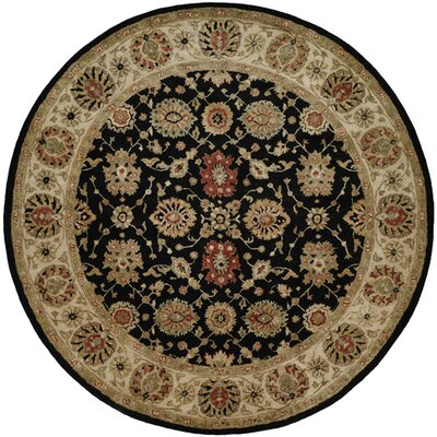 Bumb Hand-Woven Black/Brown Area Rug Rug Size: Round 4