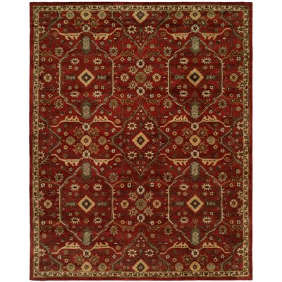 Hand-Woven Red Area Rug Rug Size: 96 x 136