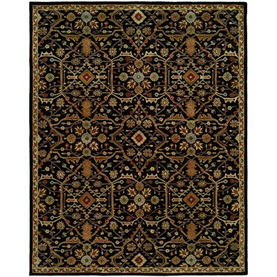 Chandran Tufted Black Area Rug Rug Size: Round 4