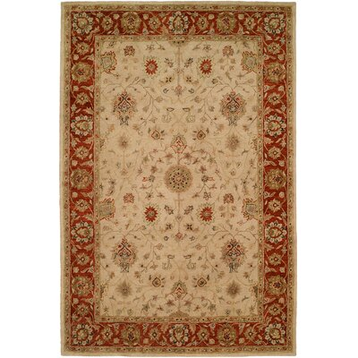Chaudhari Hand-Woven Beige Area Rug Rug Size: 96 x 136