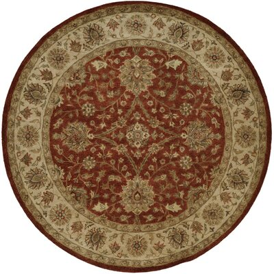 Chaudhary Hand-Woven Red/Beige Area Rug Rug Size: Round 4