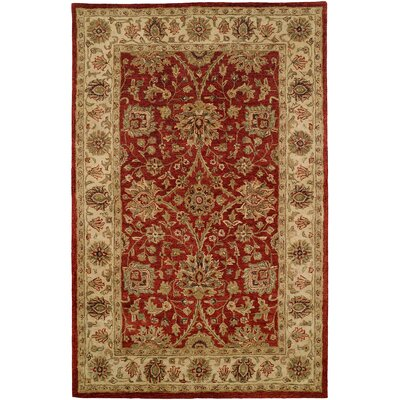 Chaudhary Hand-Woven Red/Beige Area Rug Rug Size: 36 x 56