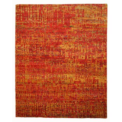 Hand Knotted Red Area Rug Rug Size: 9 x 12
